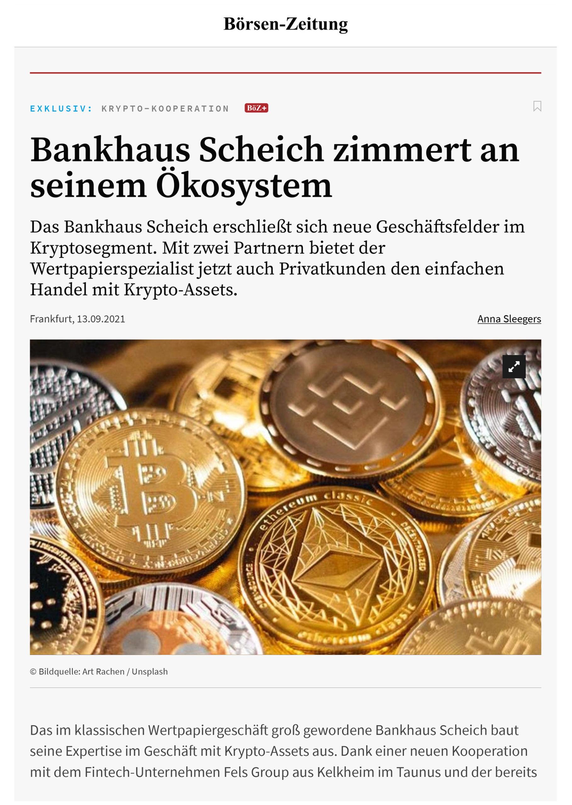 Bericht in der Börsen-Zeitung vom 13.09.2021 über Follow MyMoney